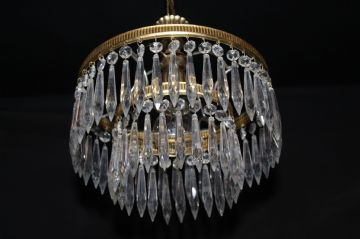 VINTAGE FRENCH  2 TIER  WATERFALL CIRCULAR CEILING LIGHT  Ref: AMY18